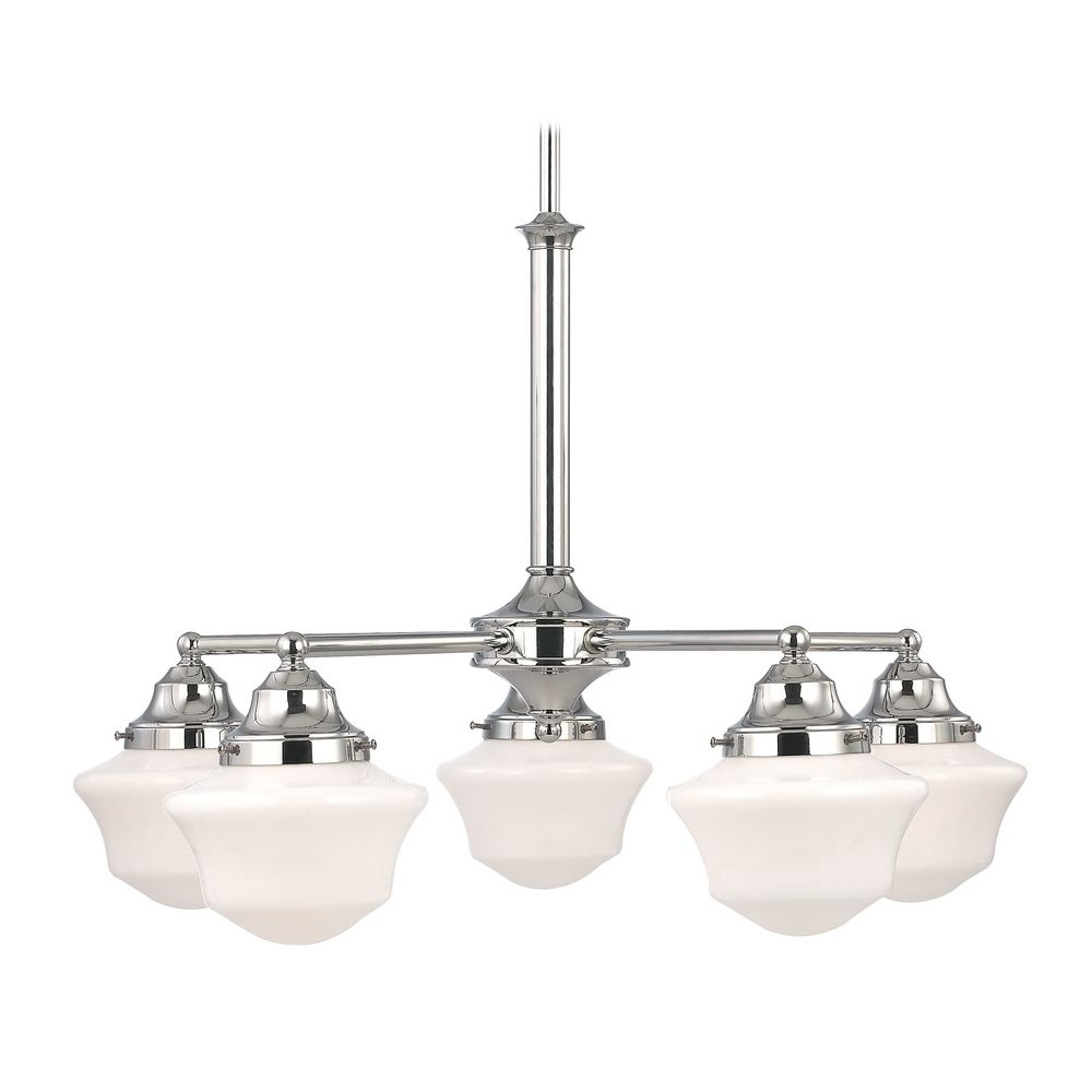 Schoolhouse Chandelier In Chrome Finish With Five Lights Ca5 26 Inside Chrome Chandeliers (Image 14 of 15)
