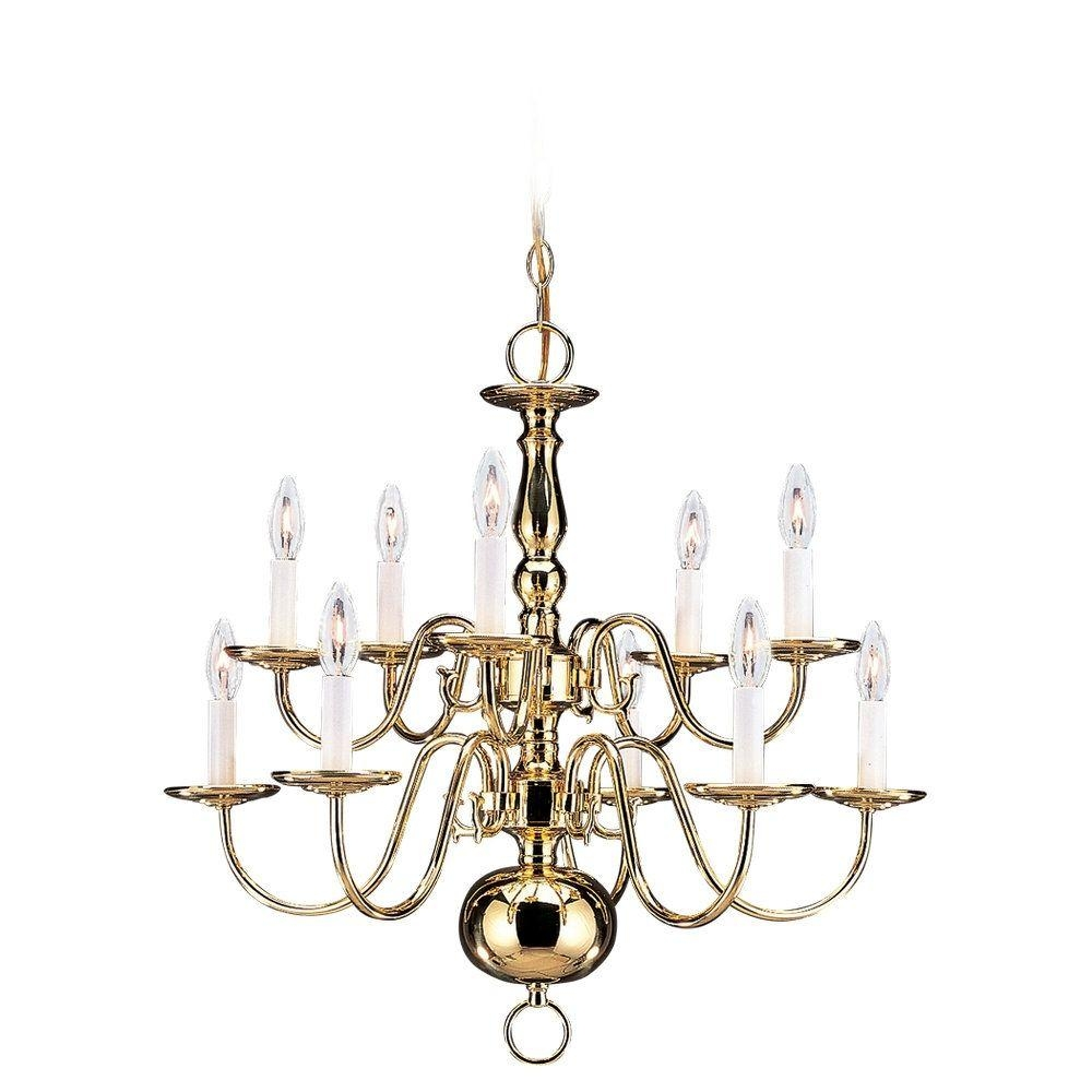 Sea Gull Lighting Traditional 10 Light Polished Brass Chandelier Intended For Traditional Brass Chandeliers (Image 14 of 15)