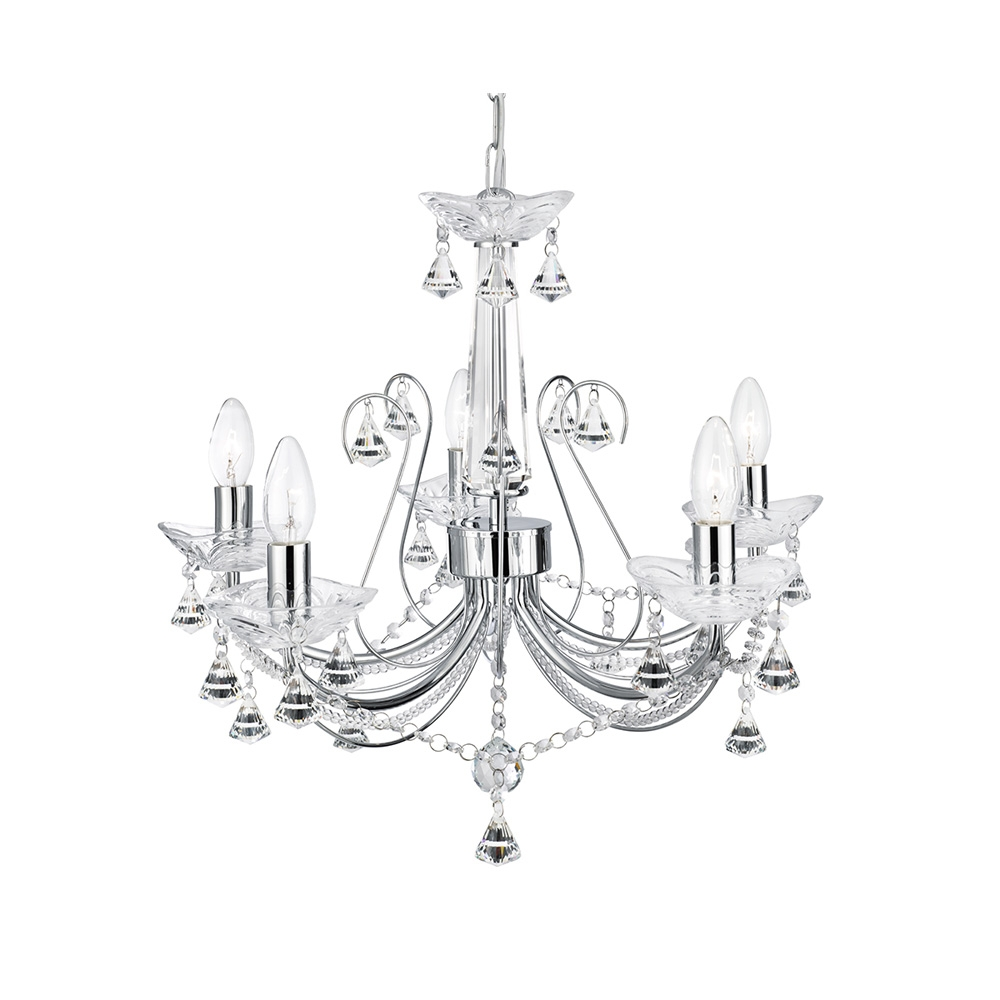 Searchlight 1395 5cc Lafayette 5 Light Chrome Chandelier Intended For Chandelier Chrome (Image 12 of 15)