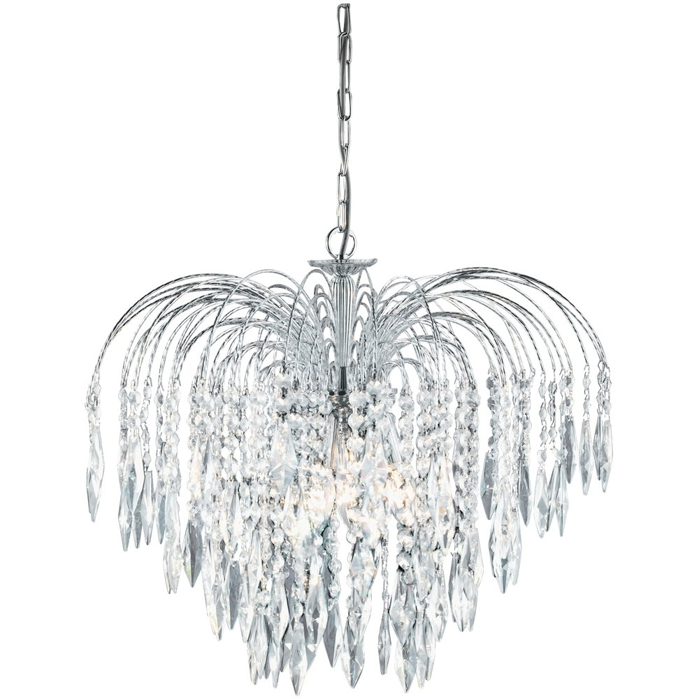 Searchlight 4175 5 Waterfall Crystal Chandelier Finished In Chrome Regarding Crystal Waterfall Chandelier (Image 10 of 15)