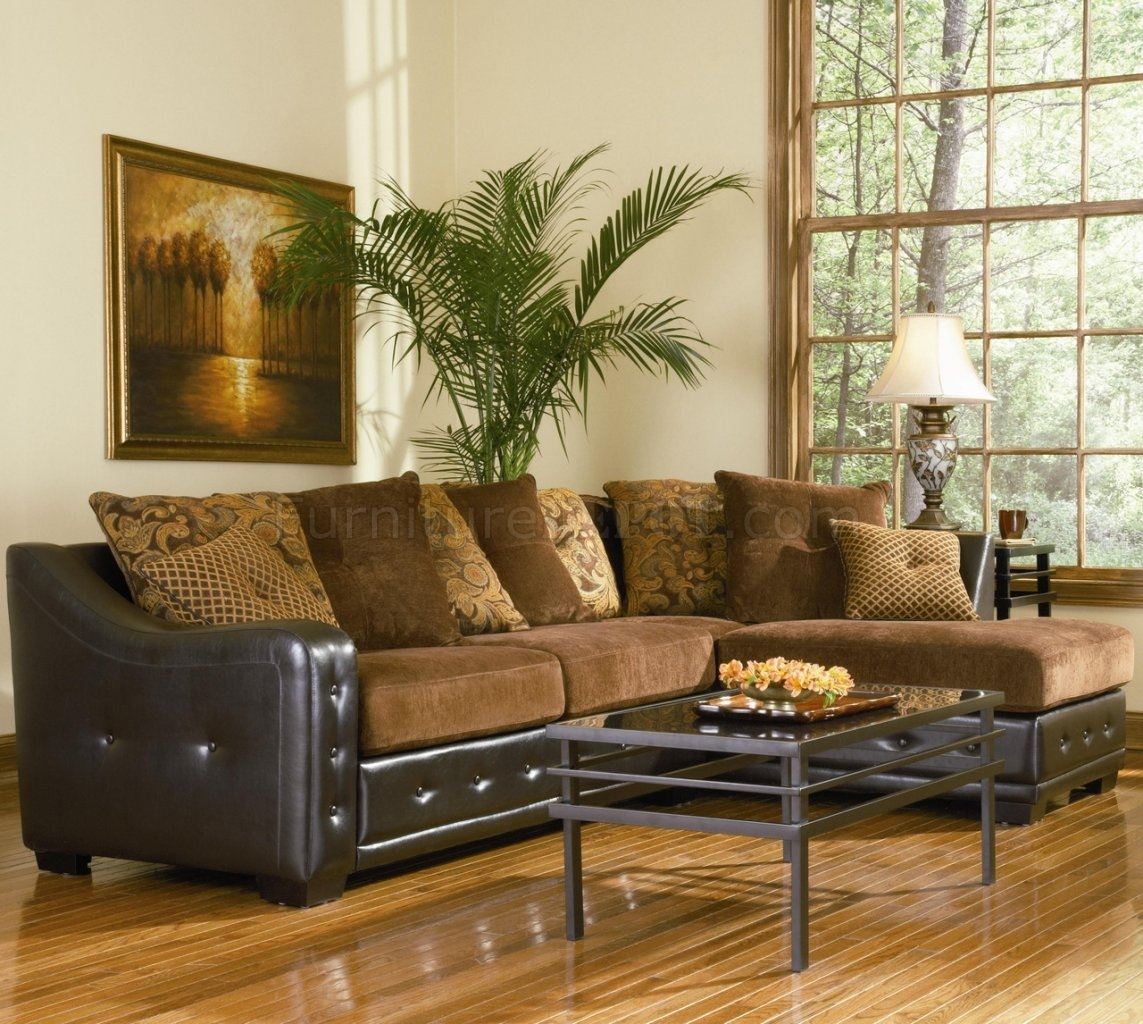 Sectional Sofa 503001 Chocolate Chenilledark Brown Vinyl Base Regarding Chenille Sectional Sofas (Image 12 of 15)