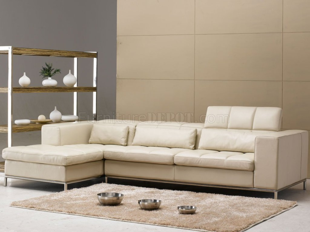 Sectional Sofa Beige Leather Modern Elegant Sectional Sofa Regarding Elegant Sectional Sofas (Image 13 of 15)