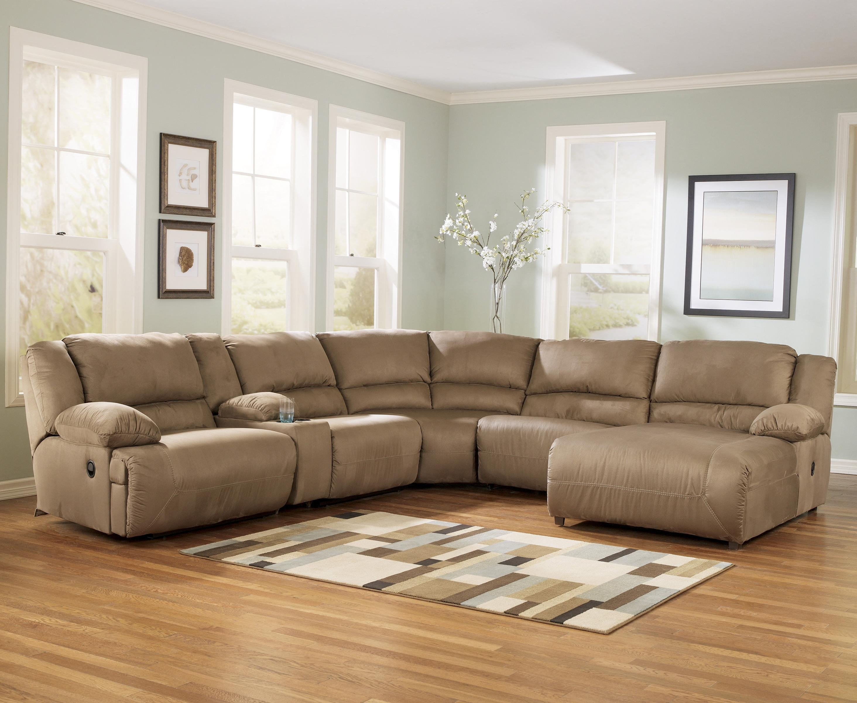 Xander Leather 6 Piece Chaise Sectional Sofa With 2 Power