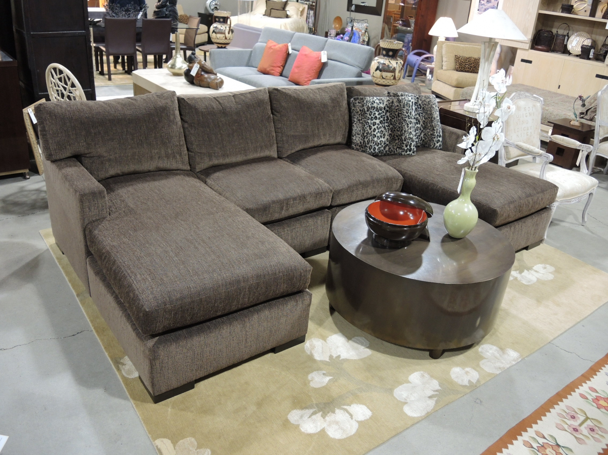 Sectional Sofa With Double Chaise Pertaining To Coffee Table For Sectional Sofa With Chaise (Image 15 of 15)