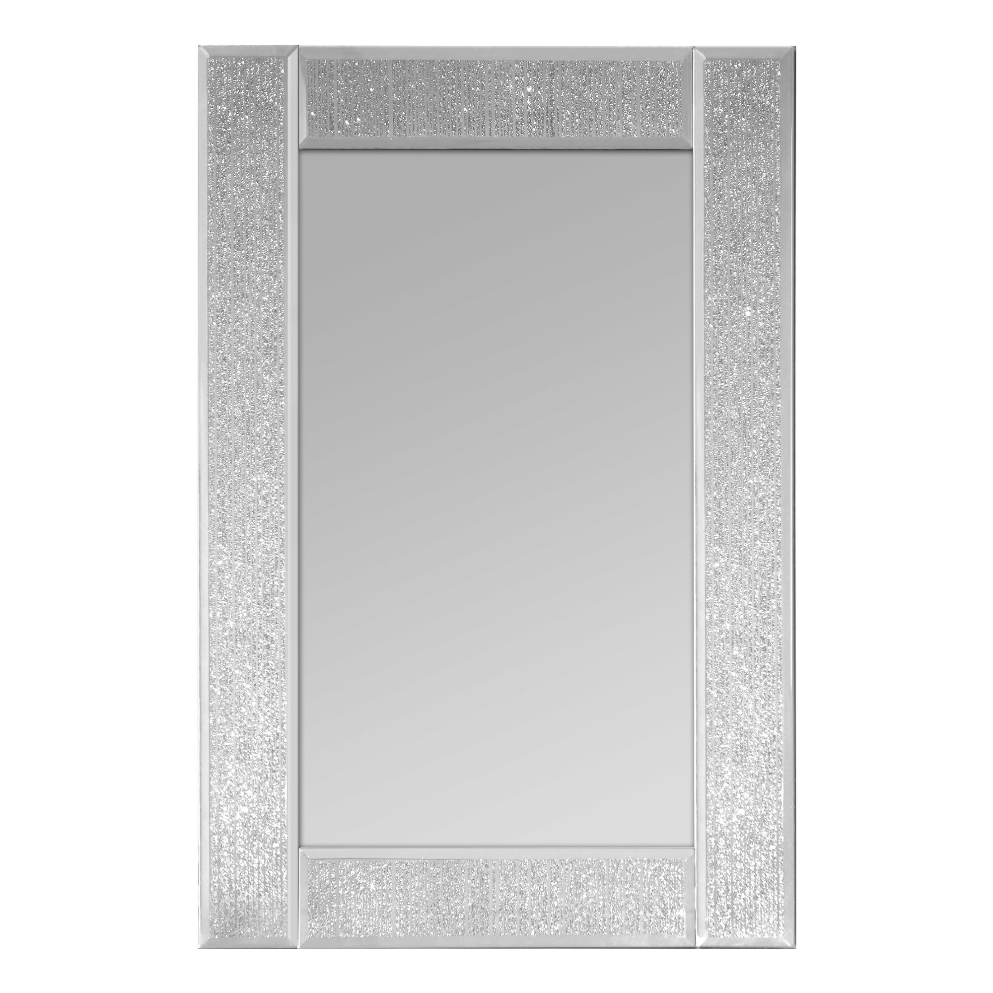 Selections Chaumont Glitter Ascot Rectangle Wall Mirror Throughout Silver Glitter Mirror (Image 11 of 15)