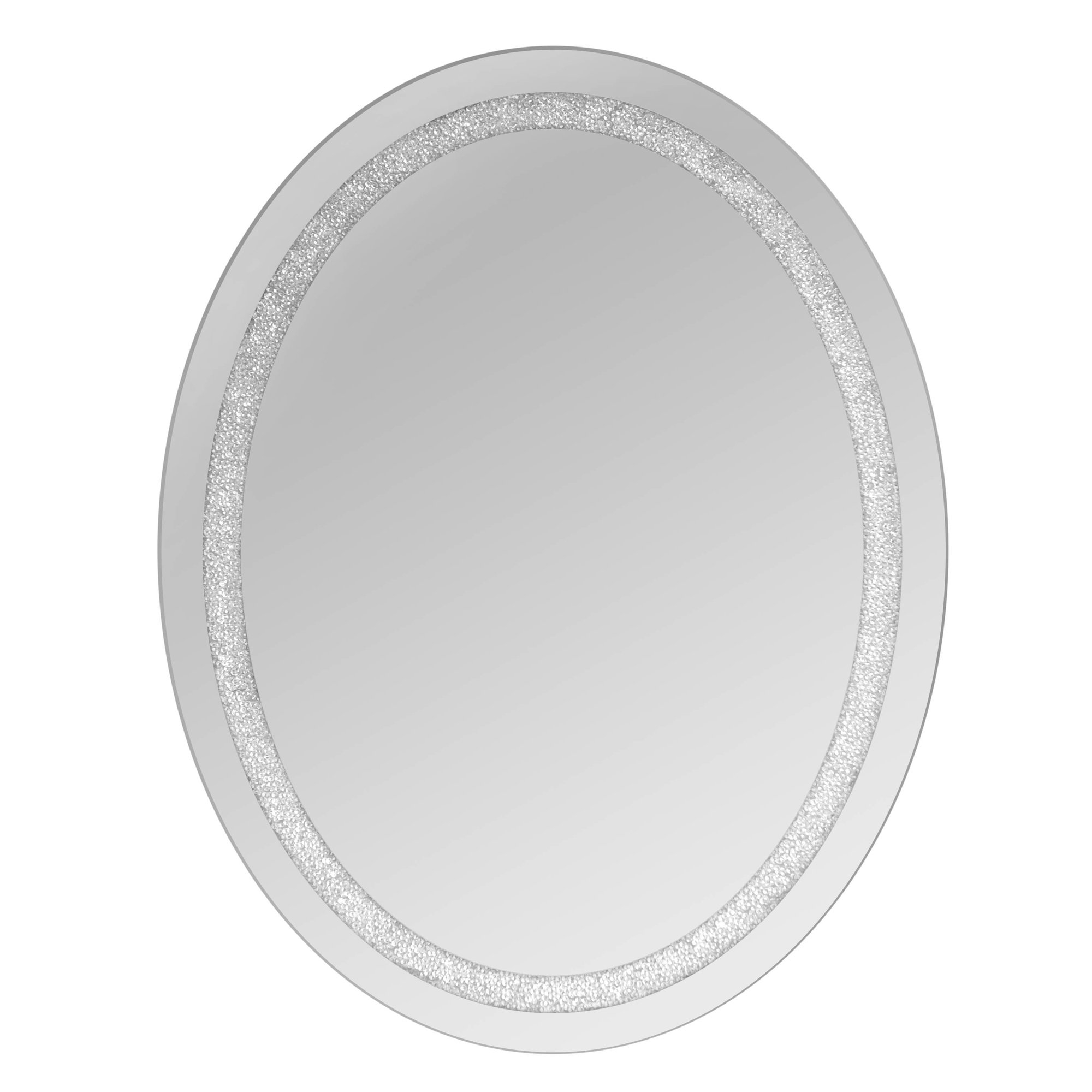Selections Chaumont Oval Beaded Crystal Wall Mirror Reviews Intended For White Oval Wall Mirror (Image 11 of 15)