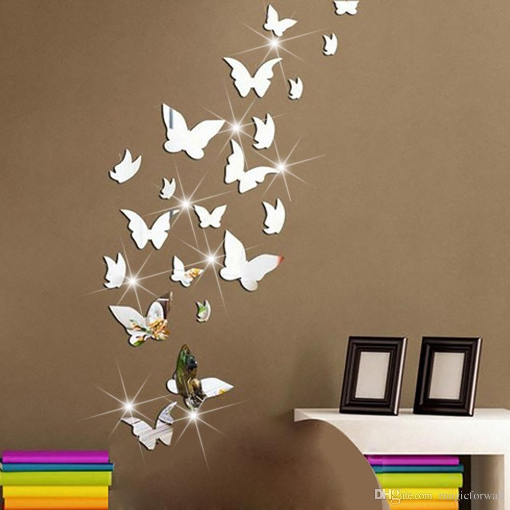 Set 3d Butterfly Mirror Effect Wall Decal Sticker Diy Home Intended For Butterfly Wall Mirror (Image 12 of 15)