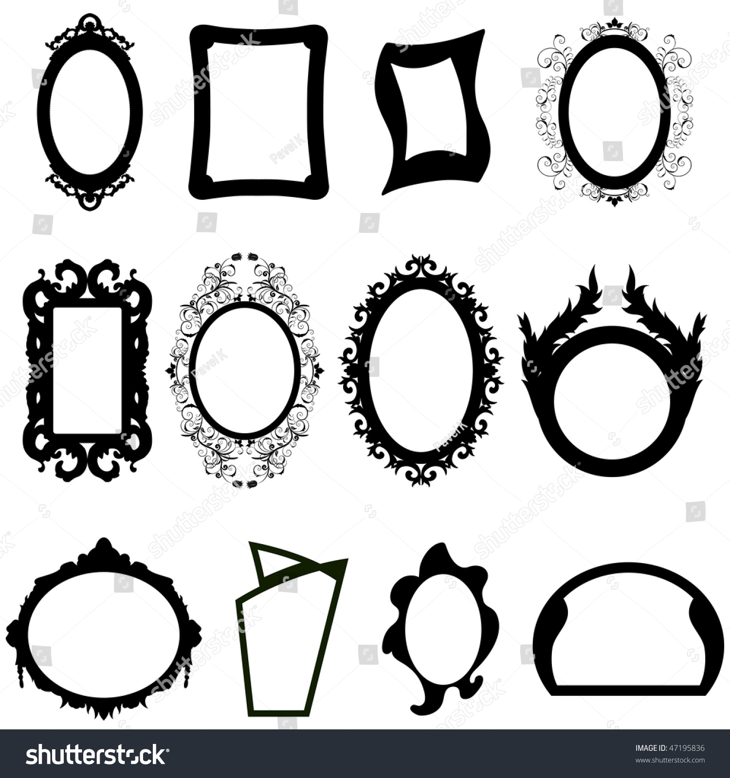 Set Different Shape Modern Ancient Mirrors Stock Vector 47195836 Intended For Modern Baroque Mirror (Image 14 of 15)