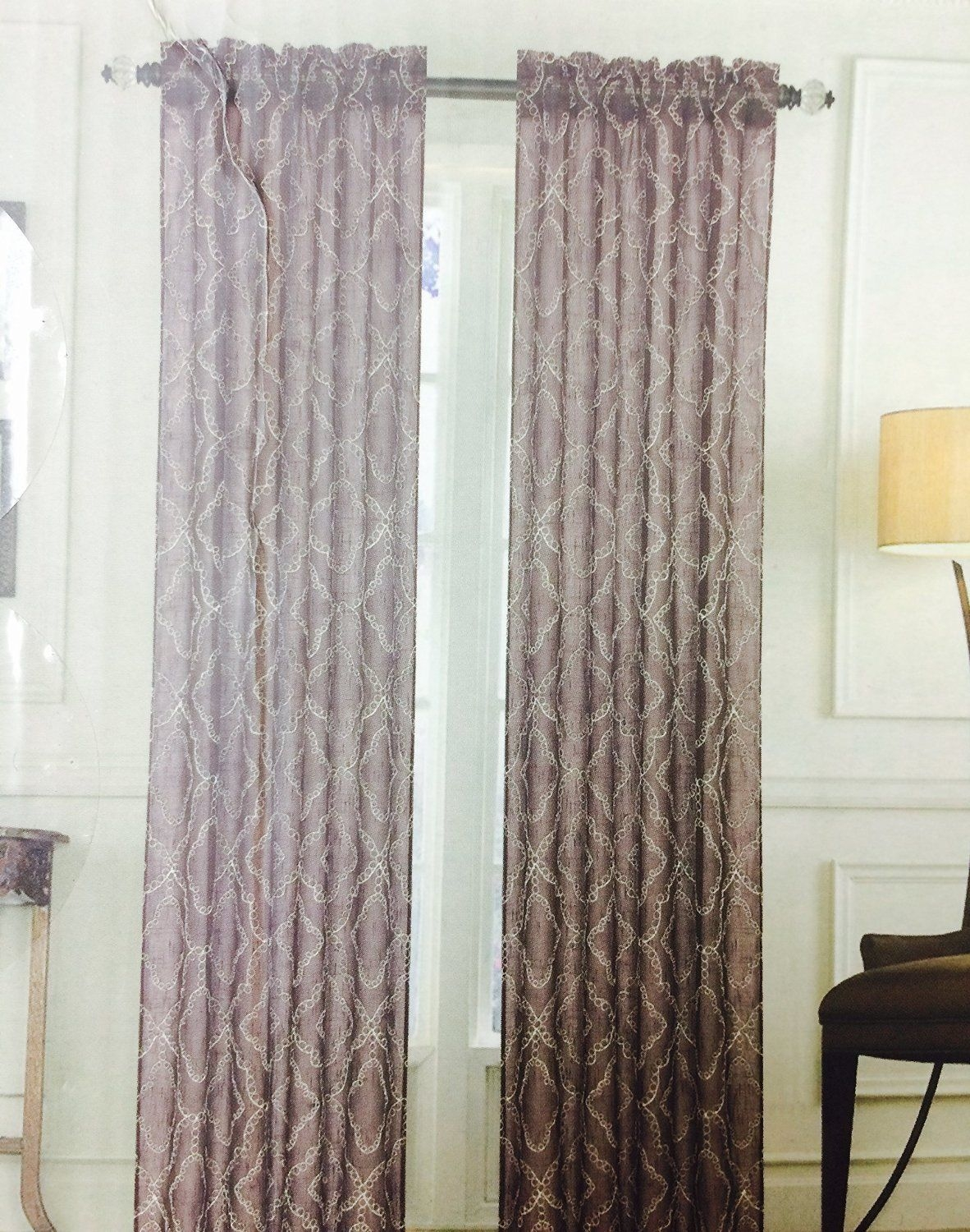 Set Of 2 Window Panel Curtains Natural Textured Linen Embroidered With Regard To Textured Linen Curtains (Image 11 of 15)