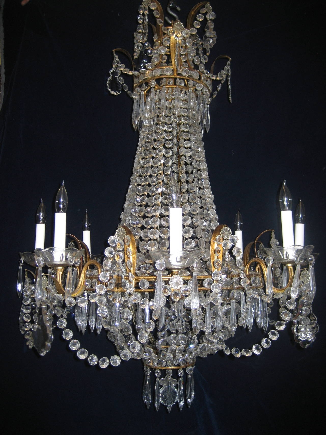 Set Of Three Antique French Louis Xvi Style Gilt And Crystal In Antique Style Chandeliers (Image 14 of 15)
