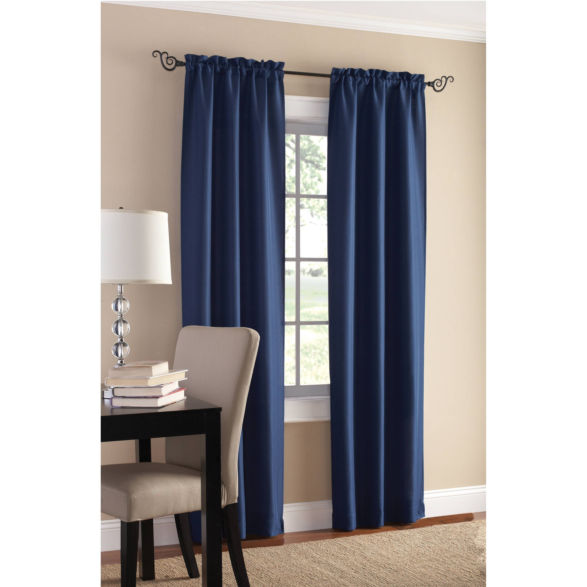 sets of 2 bedroom curtains throughout blue bedroom