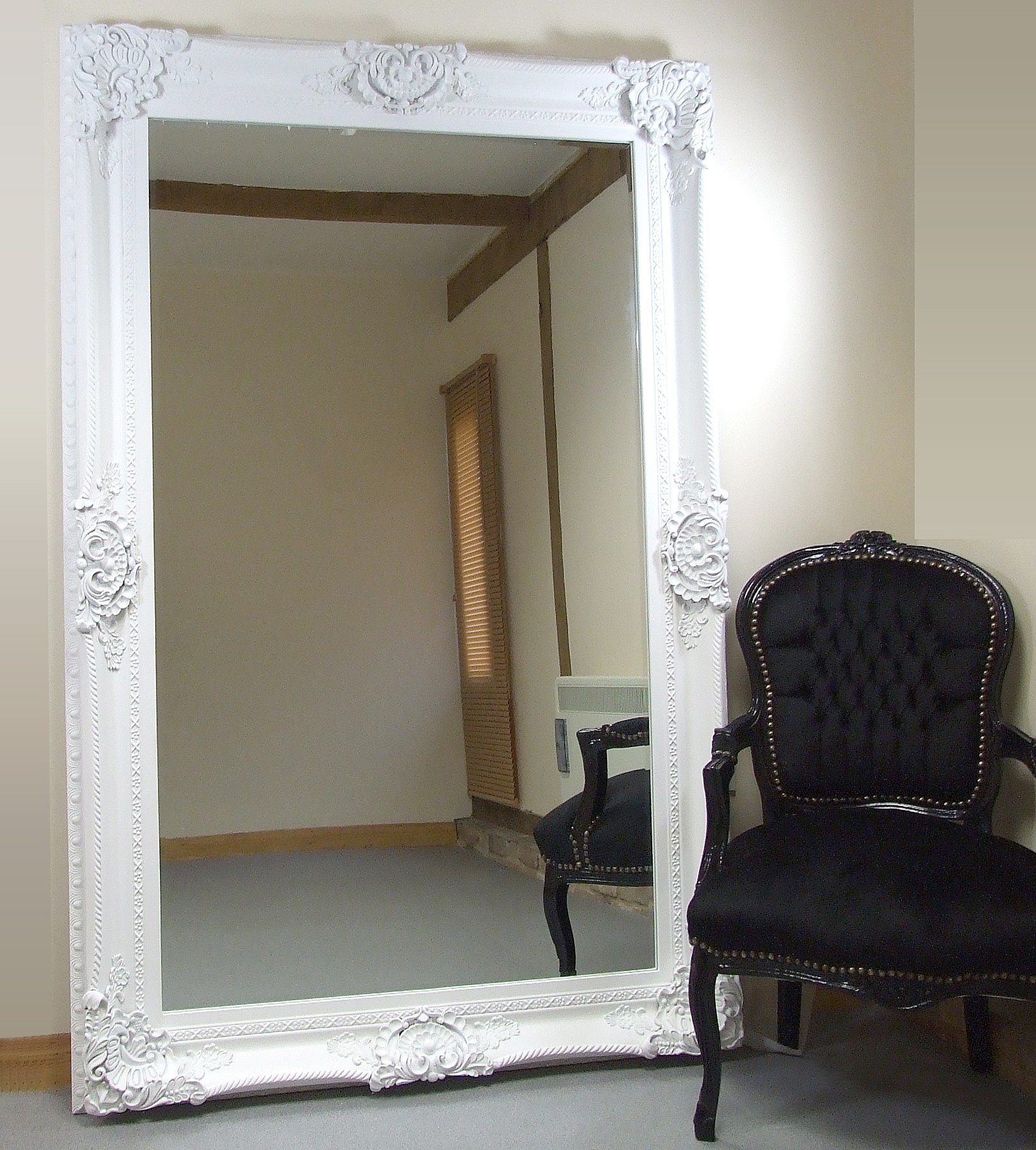 Seville Ornate Extra Large French Full Length Wall Leaner Mirror With Regard To Large French Mirror (Image 15 of 15)