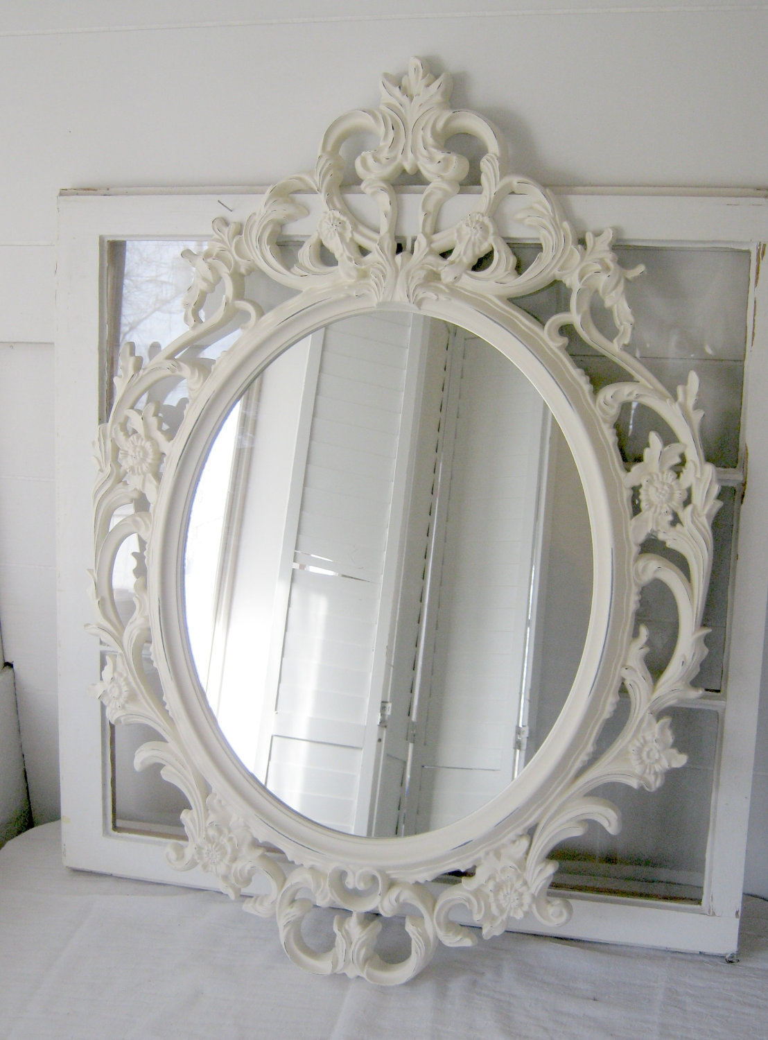 Shab Chic Baroque Oval Mirror Antique White Ornate Mirror Intended For White Antique Mirror (Image 10 of 15)