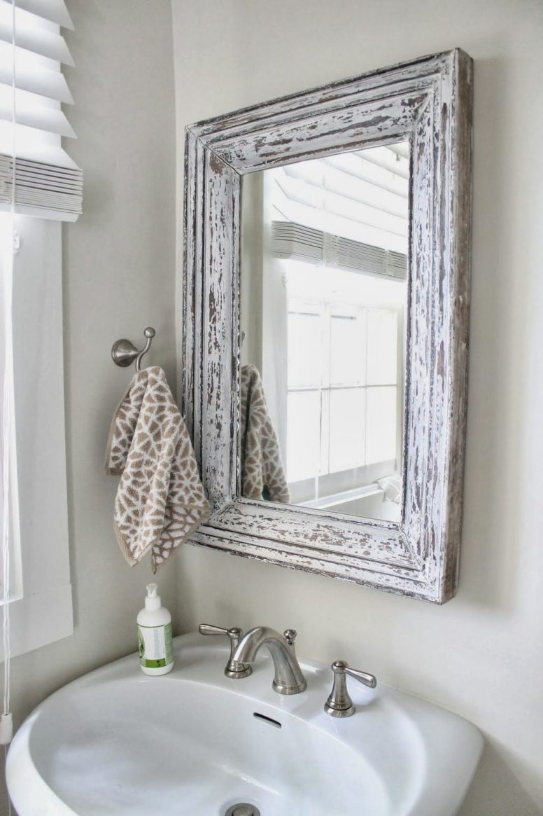 Shab Chic Bathroom Furniture Rectangle Frame Glass Wall Mirror Within Shabby Chic Round Mirror (View 11 of 15)