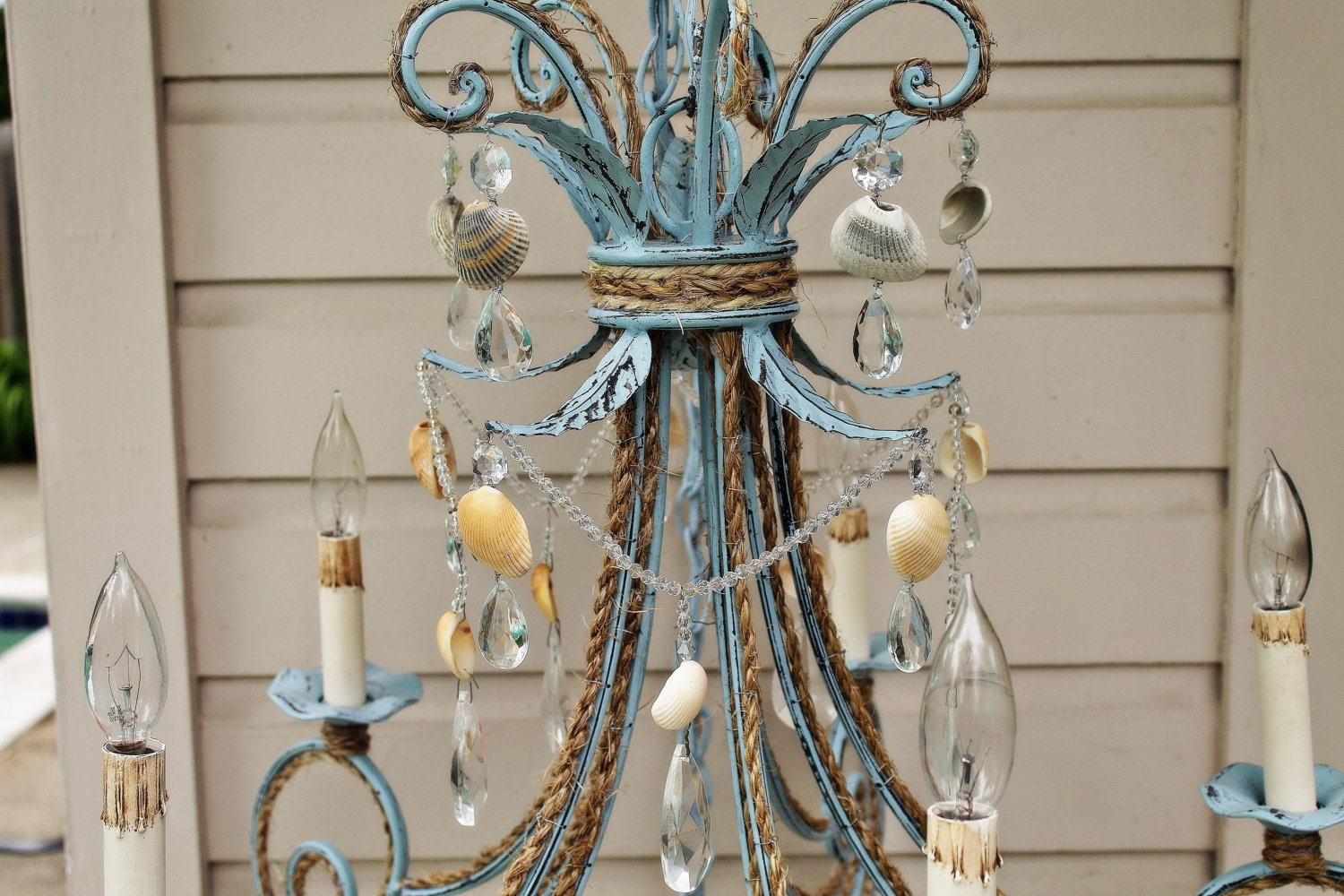 Shab Chic Coastal Blue Seashell Chandelier For Shabby Chic Chandeliers (View 12 of 15)
