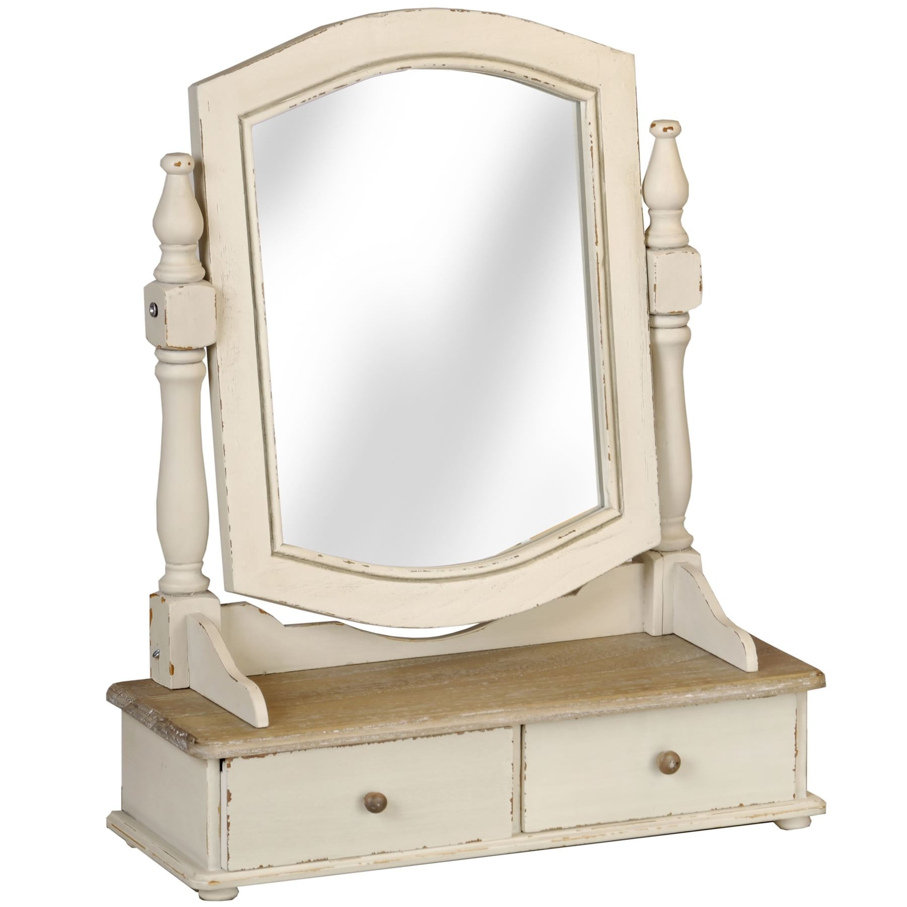 Shab Chic Country Trinket Mirror Cream Dressing Table Mirror With Regard To Cream Mirror (View 14 of 15)