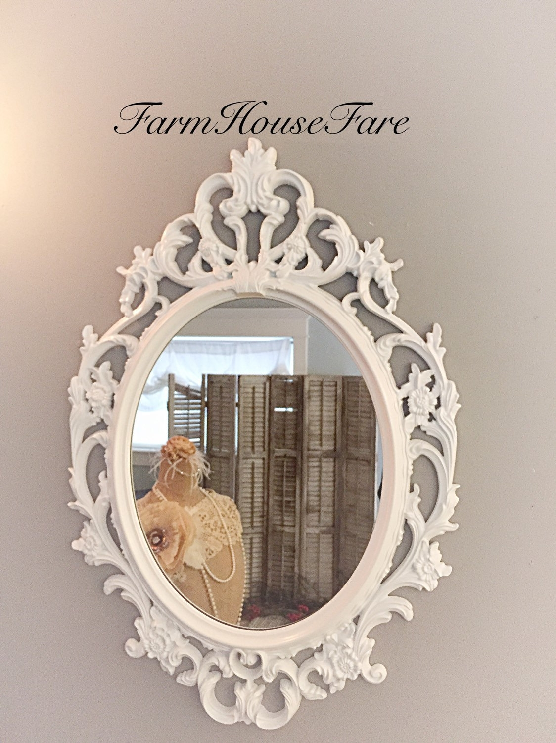 Shab Chic Mirror Bright White Oval Ornate Mirror Large Inside White Baroque Wall Mirror (Image 11 of 15)