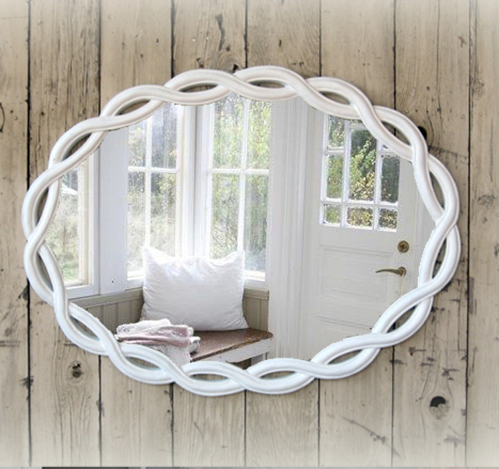Shab Chic Mirror Nursery Mirror Bathroom Mirror White For Shabby Chic Bathroom Mirrors (Image 14 of 15)