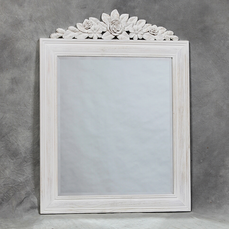 Shab Chic Mirror With Shelf White Distressed Shab Chic Inside Shabby Chic Mirror With Shelf (Image 15 of 15)