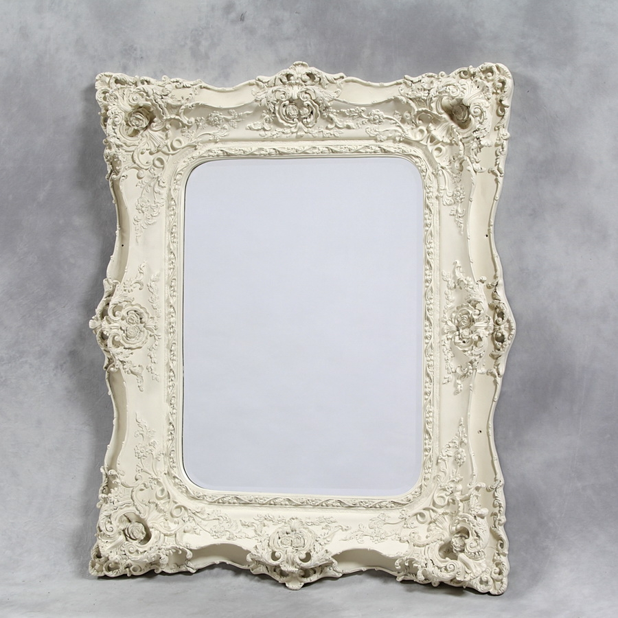 Shab Chic Mirrors Ivory White French Rose Ornate Double Framed With Regard To Ivory Ornate Mirror (Image 15 of 15)