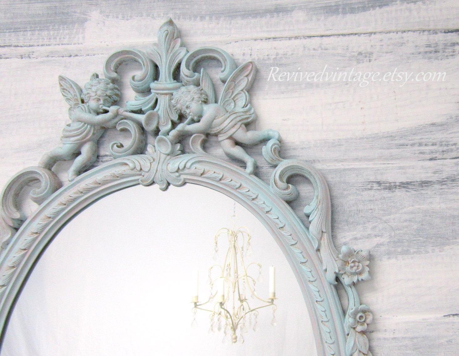 Shab Chic Nursery Framed Vintage Mirror Distressed Teal With Regard To Buy Vintage Mirror (View 4 of 15)