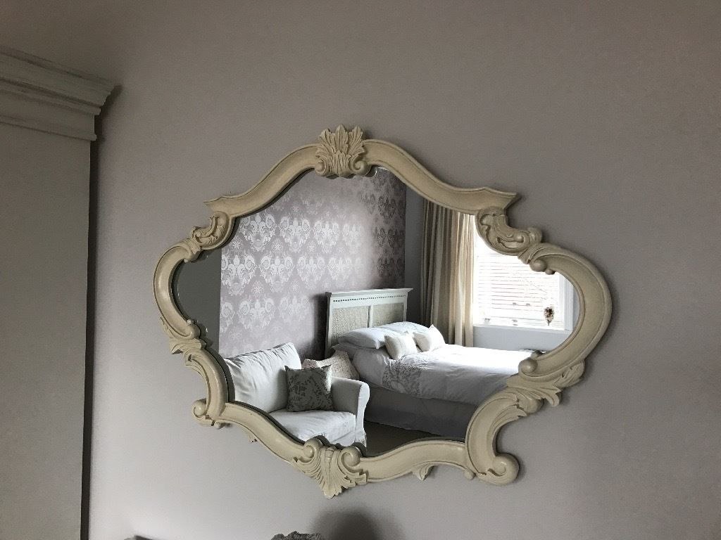 Shab Chic Ornate Cream Mirror In Excellent Condition In South For Shabby Chic Cream Mirror (Image 11 of 15)