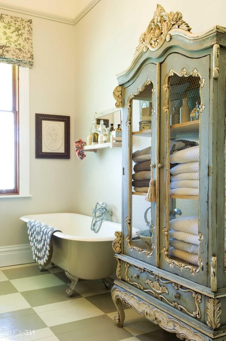 Shab Chic Style Bathroom Accessories Frameless Glass Rectangle Inside White Shabby Chic Wall Mirror (View 13 of 15)