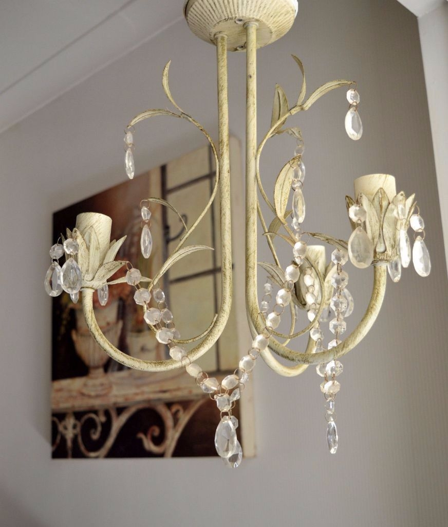 Shab Chic Vintage 3 Arm Glass Crystal Drop Ceiling Chandelier With Regard To Cream Gold Chandelier (Image 14 of 15)