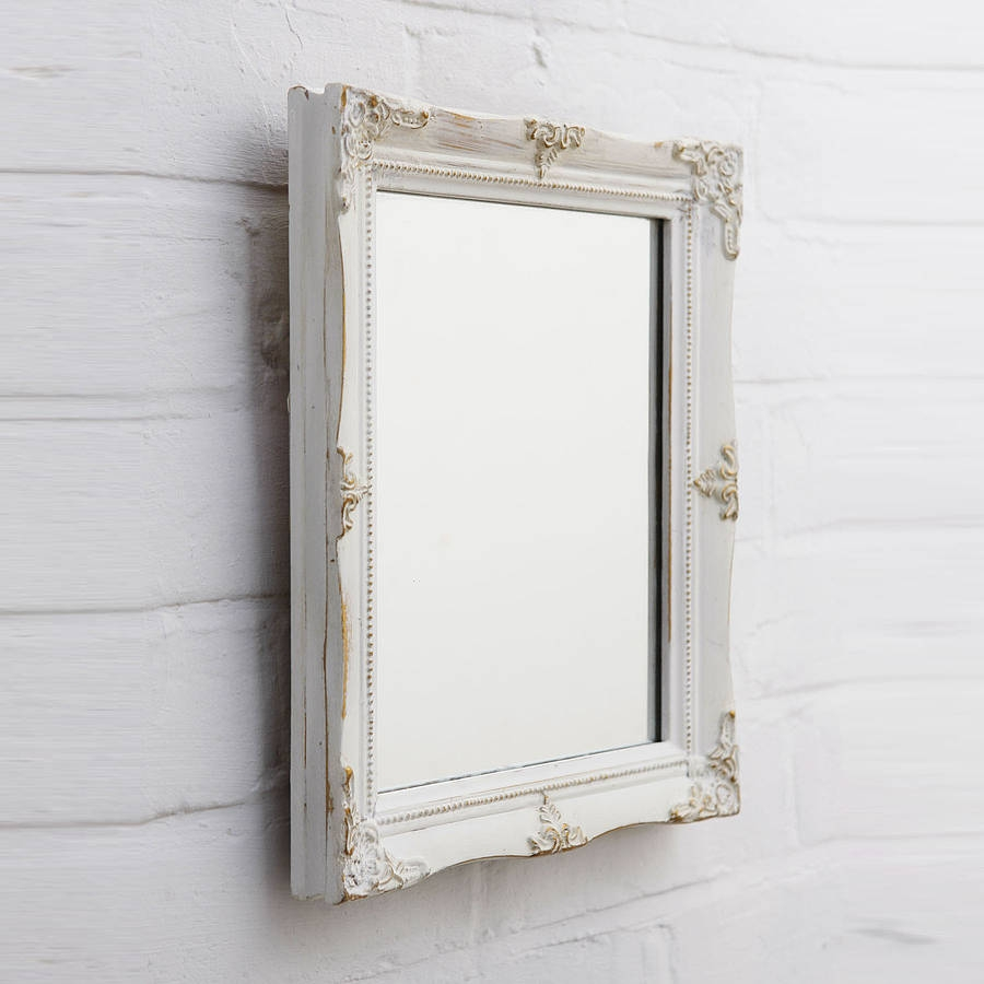 Shab Chic White Mirror Inside White Antique Mirror (Image 11 of 15)