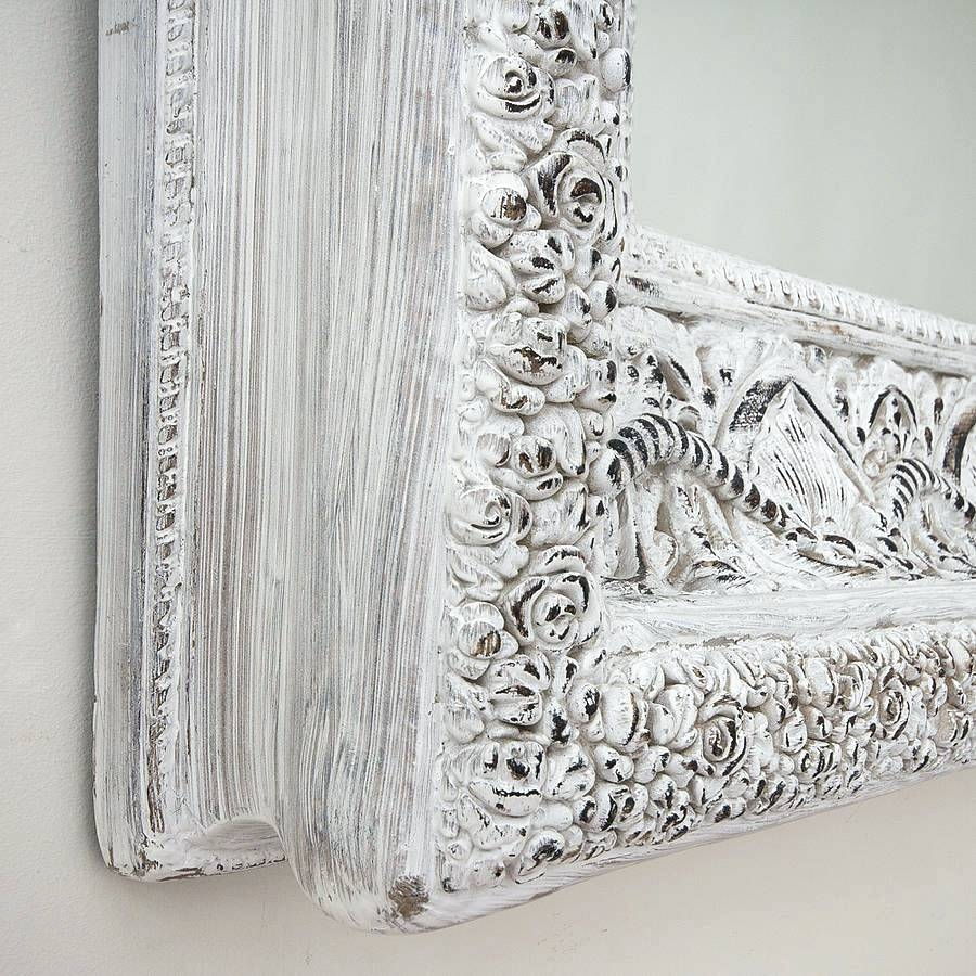 Shab Chic White Mirror Pitchloveco Within Large Shabby Chic Mirror (Image 12 of 15)