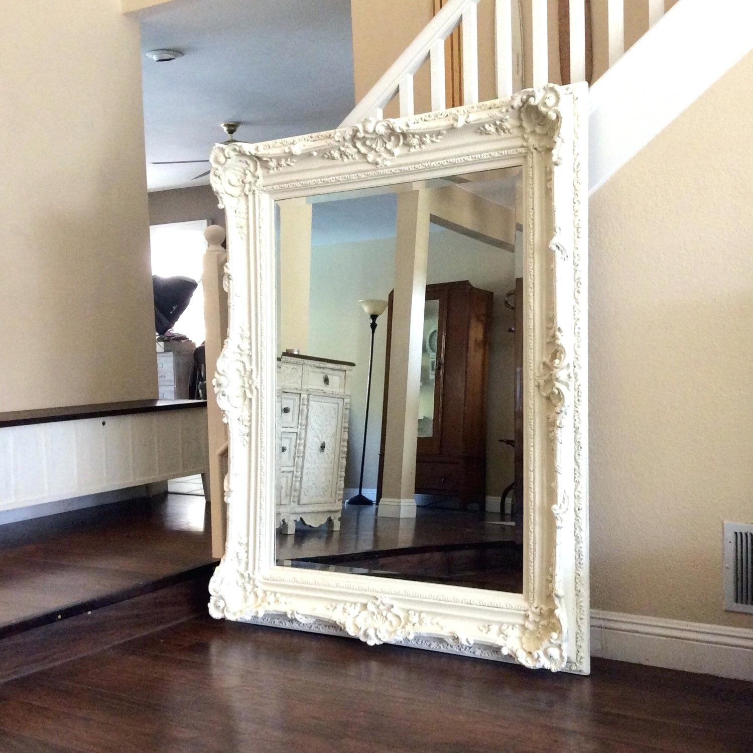 Shab Chic White Mirror Pitchloveco Within Large White Shabby Chic Mirror (Image 9 of 15)