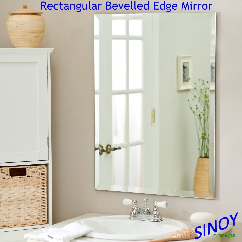 Shaped Bevelled Edge Silver Mirror Glass For Bathroom Mirror Inside Bevelled Edge Bathroom Mirror (Image 13 of 15)