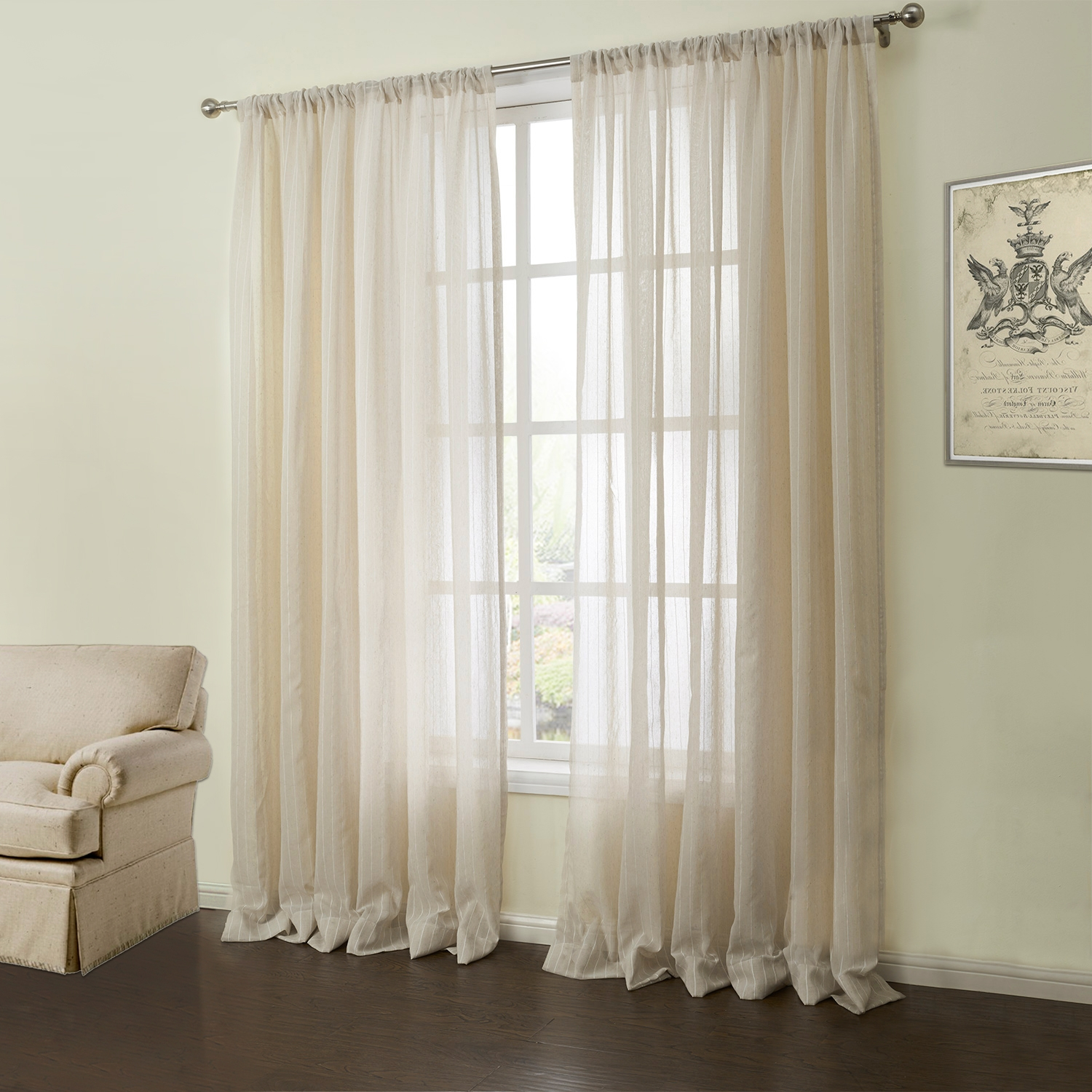 Sheer Curtains Ring Top Chiffon Cutain Voil Panel Curtain Sheer Intended For Linen Gauze Curtains (Image 14 of 15)