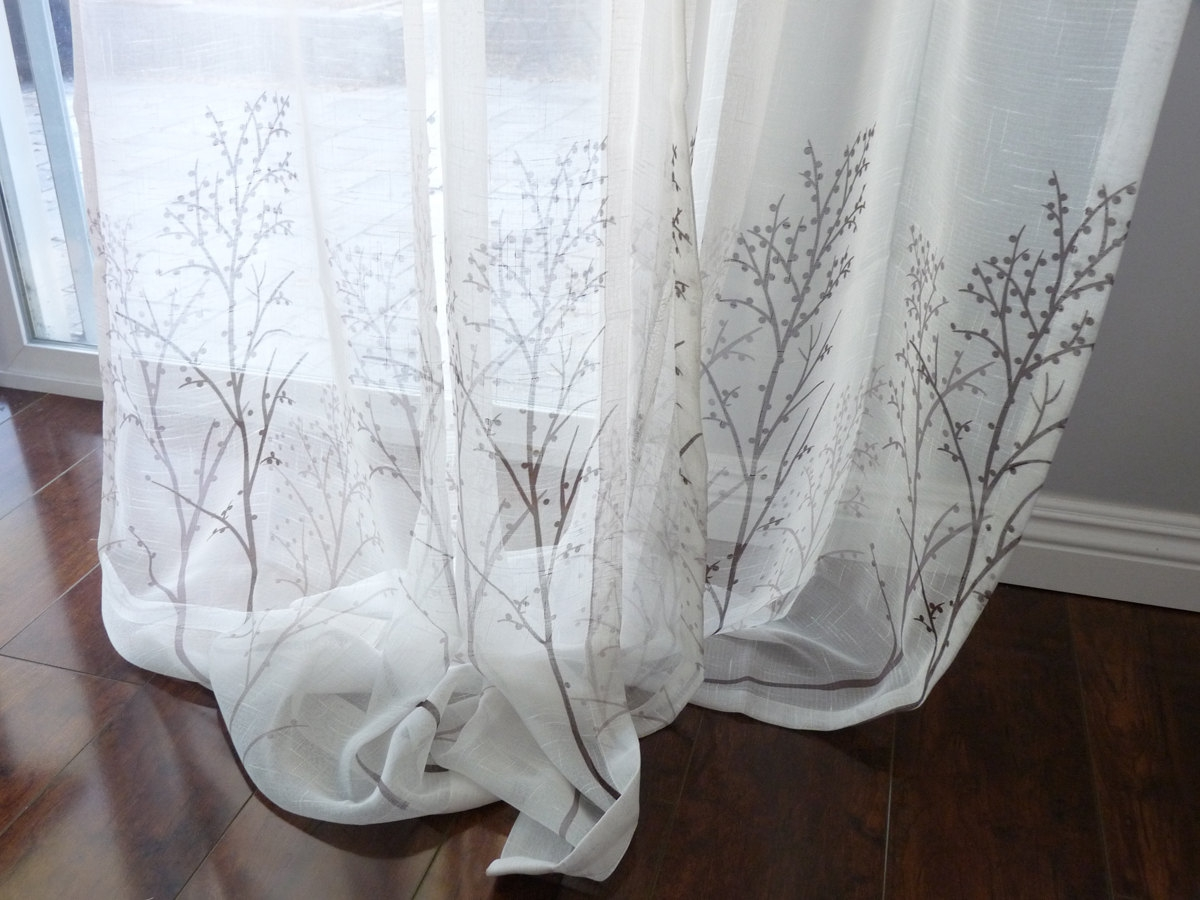 Sheer Linen Curtain Etsy Pertaining To Sheer Linen Fabric Curtain (Image 12 of 15)