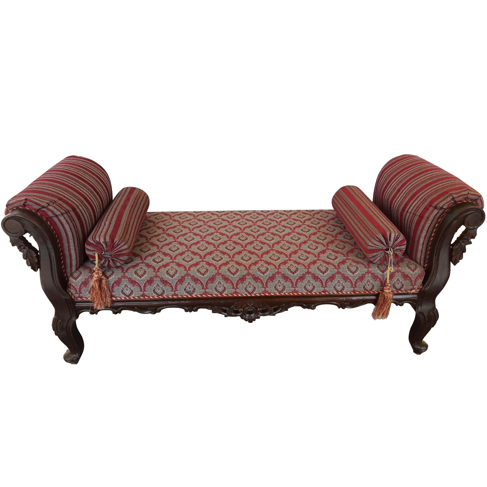Sheesham Wood Handcrafted Antibes Backless Chaise Longuedewan With Backless Chaise Sofa (Image 9 of 15)