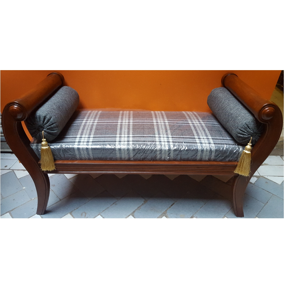 Sheesham Wood Handcrafted Backless Inner Arms Chaise Longuedewan Regarding Backless  Chaise Sofa (Image 11 Of
