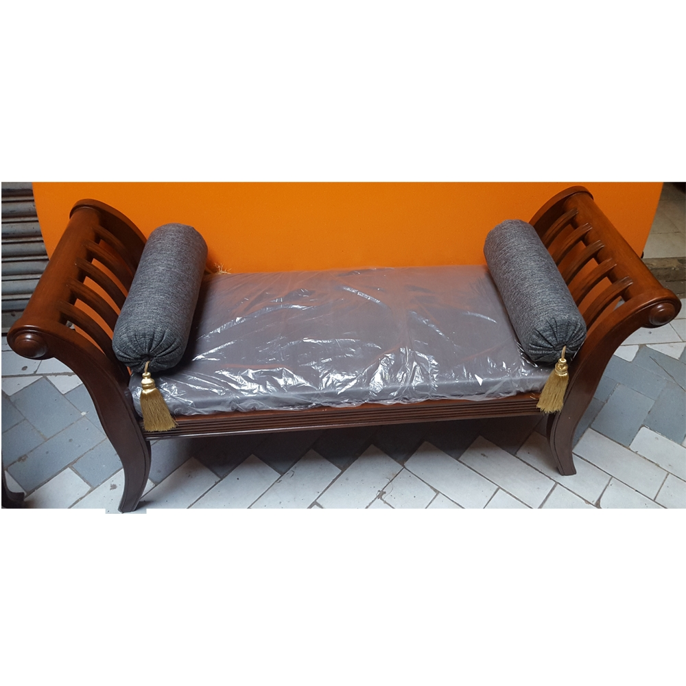 Sheesham Wood Handcrafted Backless Outer Arms Chaise Longuedewan Within Backless Chaise Sofa (Image 13 of 15)