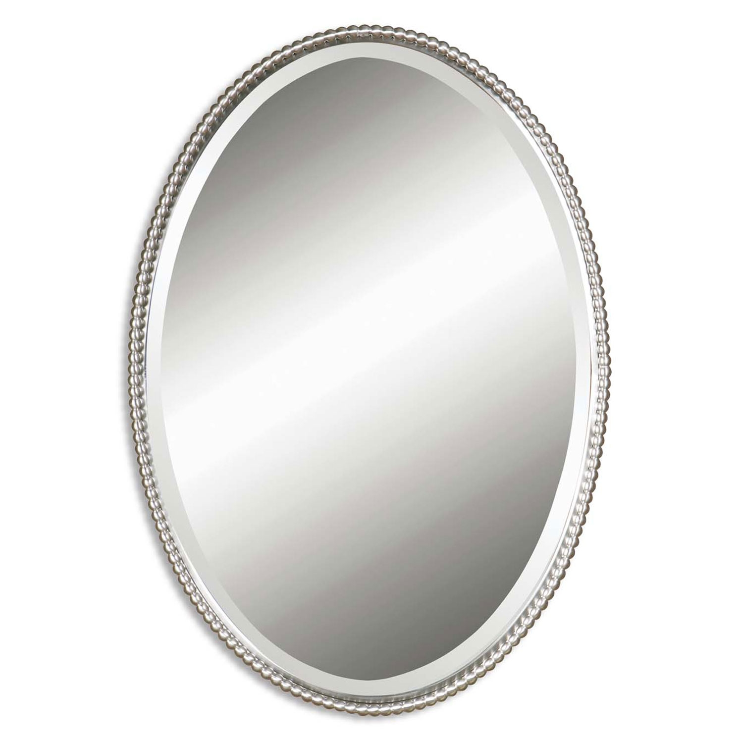 Sherise Brushed Nickel Oval Mirror Uttermost Oval Mirrors Home Decor Pertaining To Oval Bevelled Mirror (Image 10 of 15)