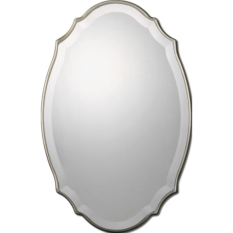 Shop Allen Roth 20 In X 30 In Silver Beveled Oval Framed Pertaining To Oval French Mirror (Image 14 of 15)