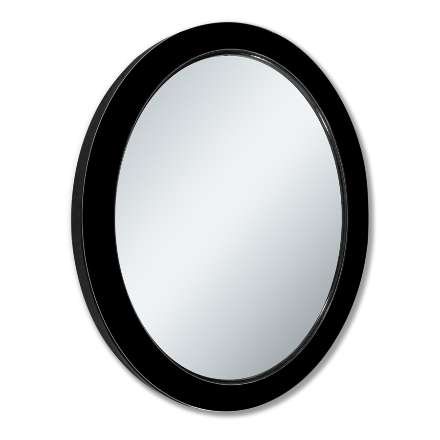 Shop Allen Roth 24 In X 30 In Black Beveled Oval Framed Within Black Oval Wall Mirror (Image 12 of 15)