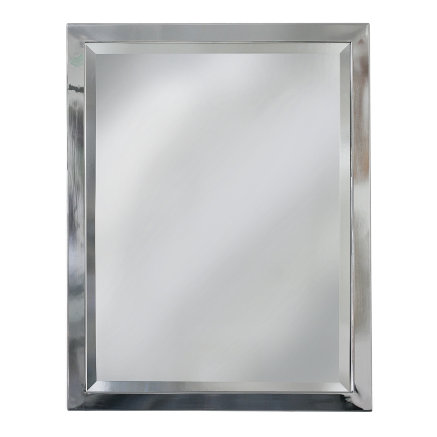 Shop Allen Roth 24 In X 30 In Chrome Rectangular Framed Bathroom Pertaining To Silver Bathroom Mirror Rectangular (Image 11 of 15)