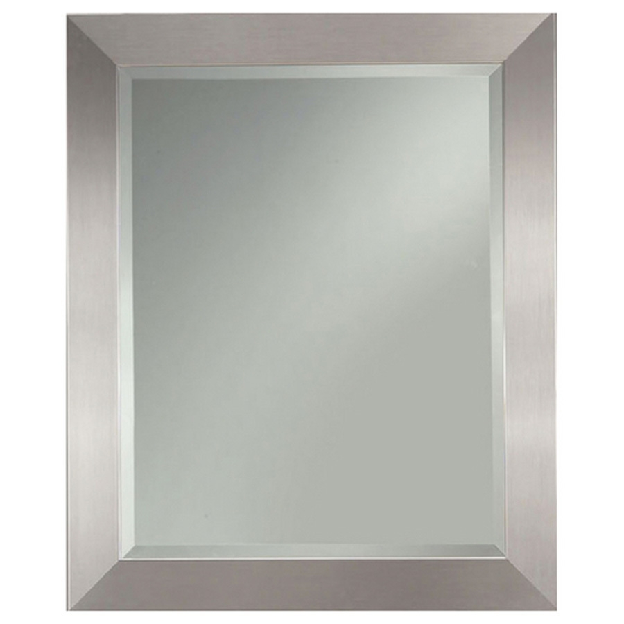 Shop Allen Roth 2725 In X 3325 In Silver Leaf Beveled Throughout Silver Rectangular Mirror (Image 10 of 15)
