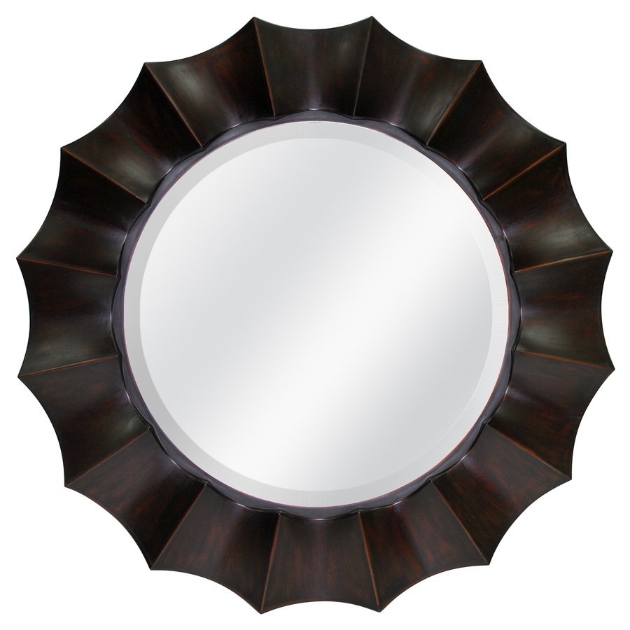 Shop Allen Roth 29875 In X 29875 In Oil Rubbed Bronze Beveled With Regard To Bronze Wall Mirrors (Image 9 of 15)