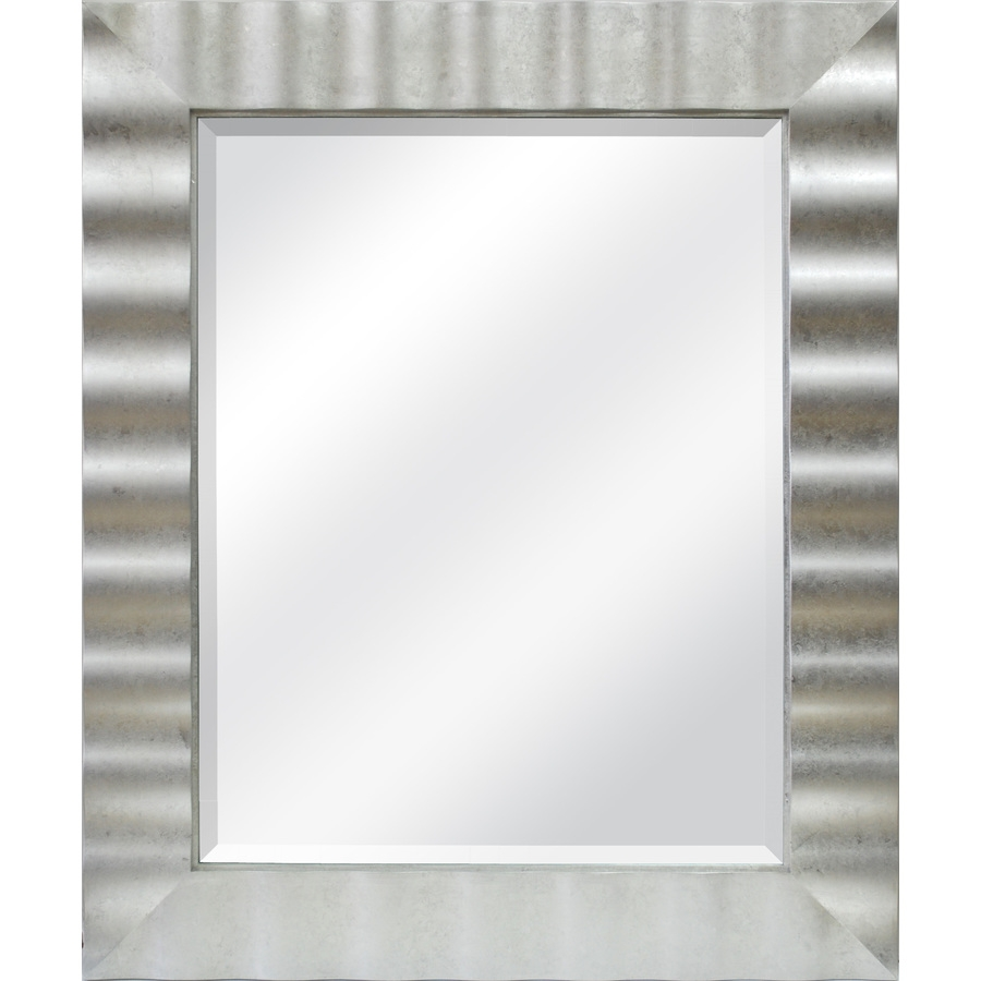 Shop Allen Roth 30 In X 36 In Silver Leaf Beveled Rectangle Within Contemporary Wall Mirrors (Image 15 of 15)