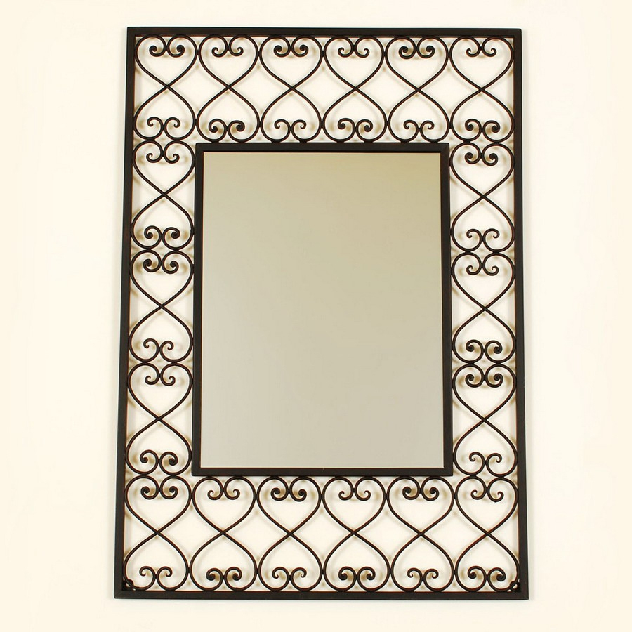 Shop Ashton Sutton 19 In X 26 In Wrought Iron Rectangle Framed With Black Wrought Iron Mirror (Image 11 of 15)