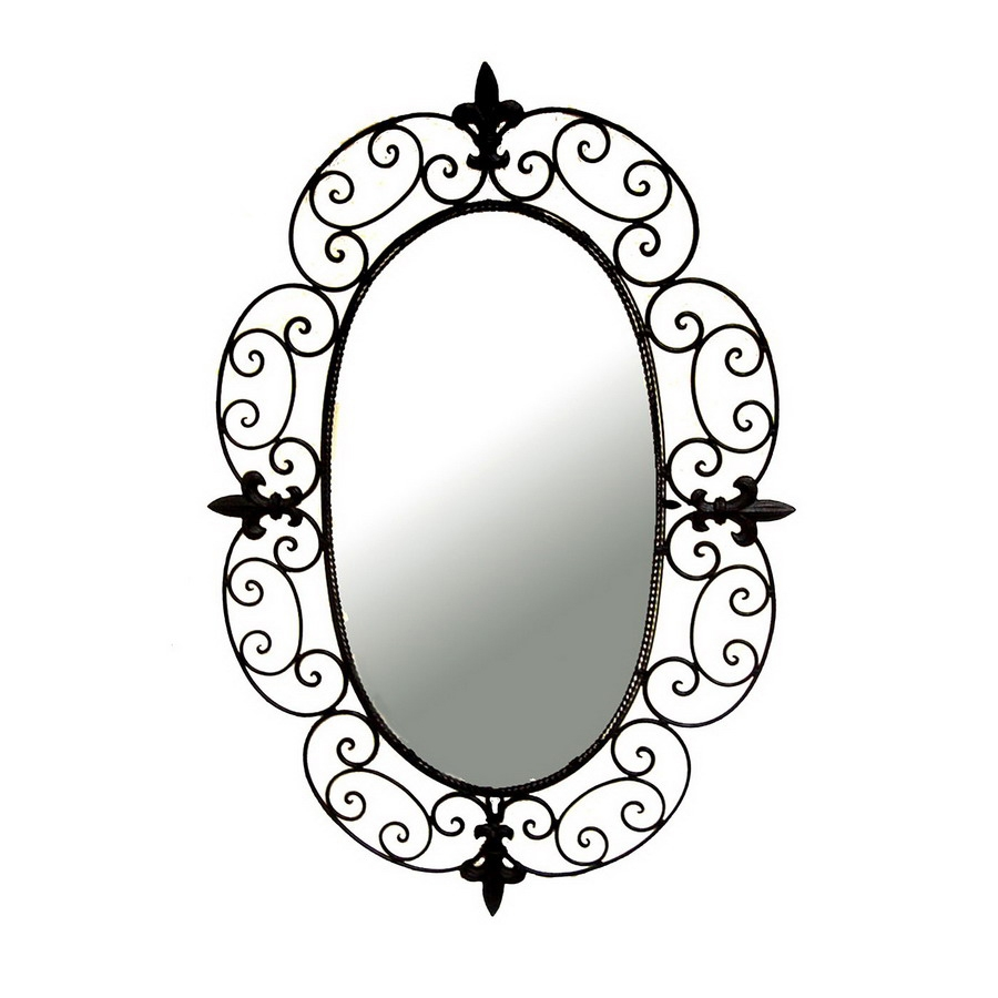 Shop Ashton Sutton 20 In X 29 In Wrought Iron Oval Framed Wall For Black Wrought Iron Mirror (Image 12 of 15)