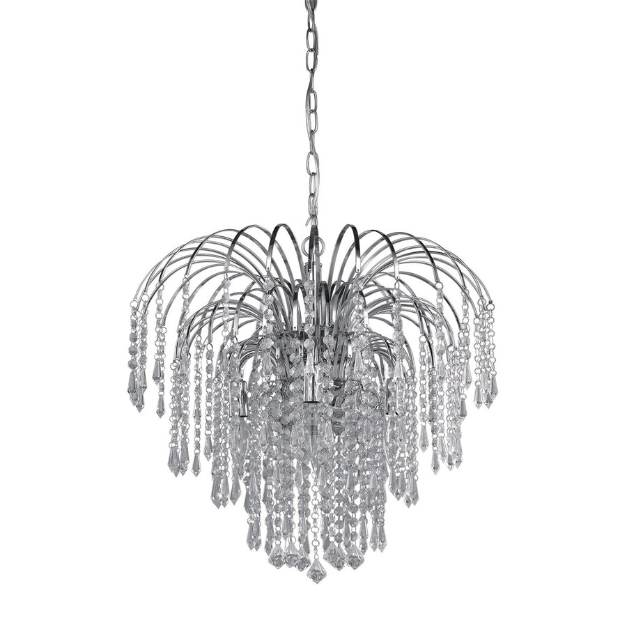Shop Canarm Olivia 19 In 4 Light Chrome Crystal Waterfall With Regard To Crystal Waterfall Chandelier (Image 11 of 15)
