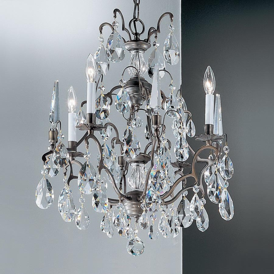 Shop Classic Lighting Versailles 4 Light Antique Bronze Crystal With Bronze And Crystal Chandeliers (Image 14 of 15)