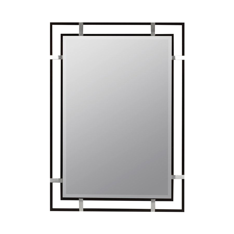 Shop Cooper Classics Kinzie 24 In X 34 In Black Beveled Rectangle With Regard To Contemporary Wall Mirror (Image 14 of 15)