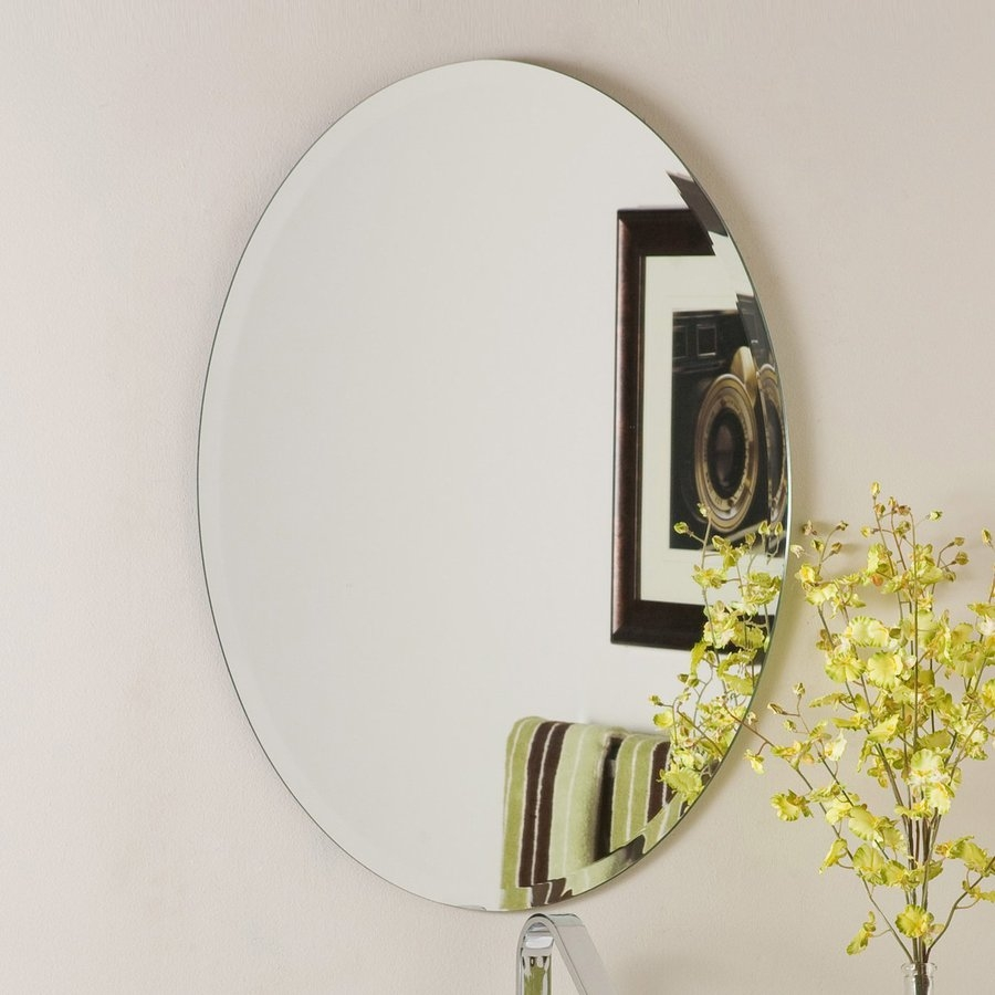 Shop Decor Wonderland Odelia 22 In X 28 In Oval Frameless Bathroom Pertaining To Oval Bevelled Mirror (Image 12 of 15)